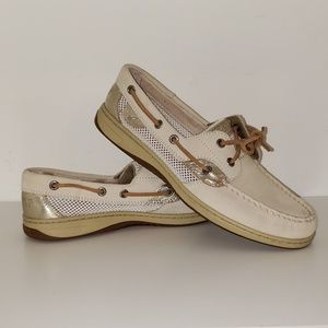 GOLD AND BEIGE LEATHER AND MESH SPERRY TOP-SIDERS
